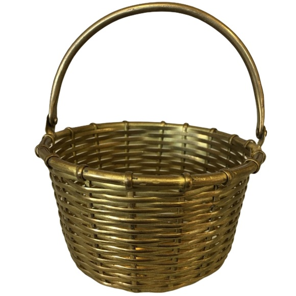 Vintage Small Brass Woven Basket Made In India